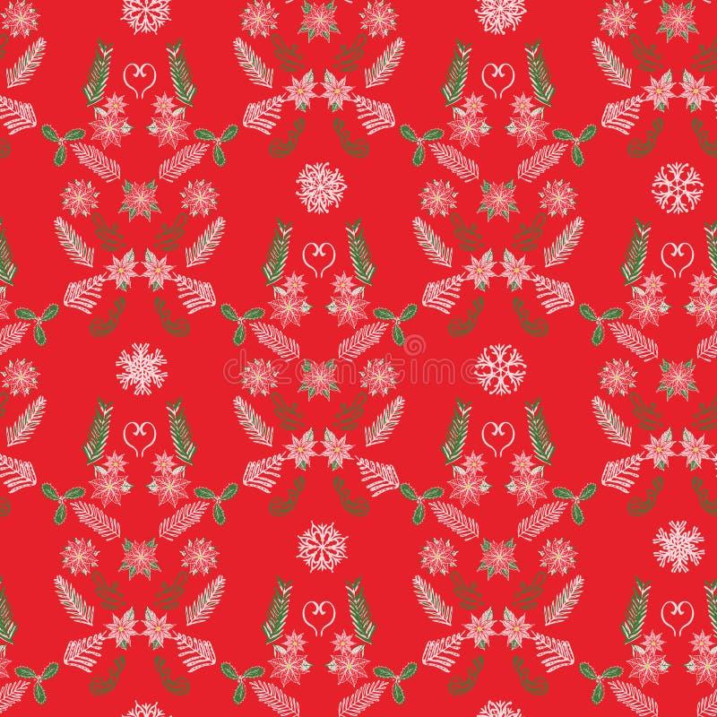 Teste padrão criativo do damasco do Natal do inverno com poinsétia, ramos sempre-verdes e flocos de neve Vetor ilustração stock