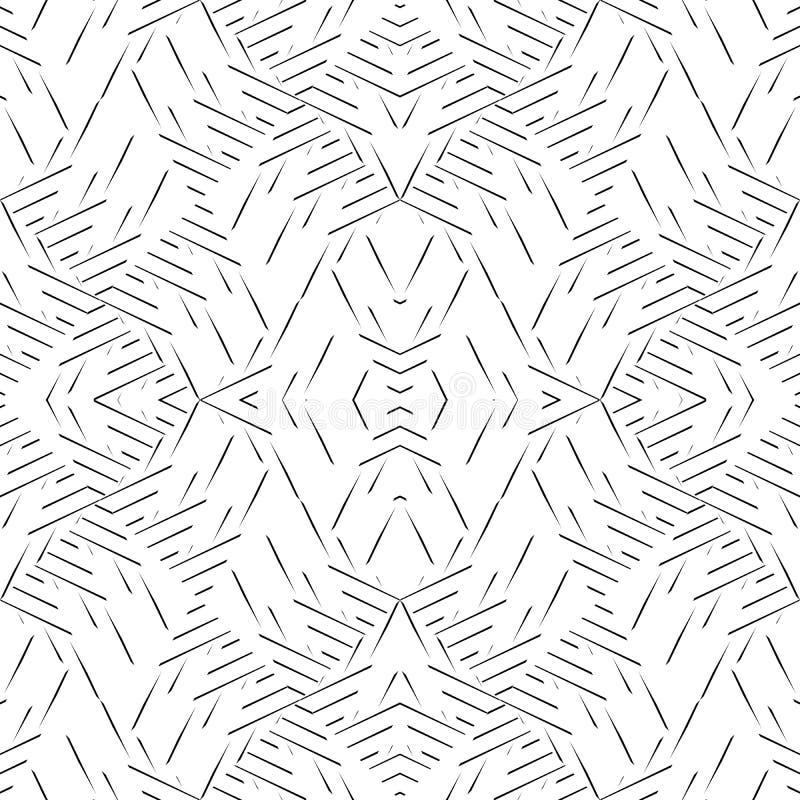 Teste padrão curvado sem emenda preto e branco ilustração do vetor