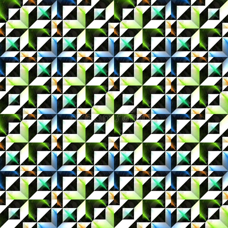 Teste padrão 3D colorido abstrato Superfície ornamentado metálica Fundo da textura do relevo Vetor sem emenda ilustração do vetor