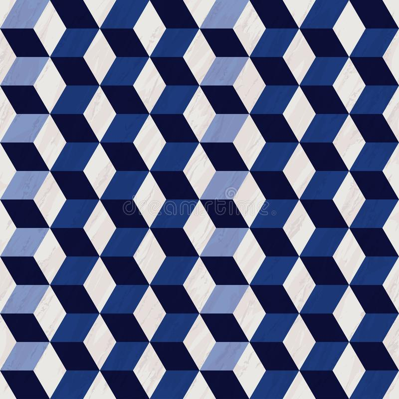 Teste padrão 3d com textura de mármore, de teste padrão do hexágono teste padrão geométrico sem emenda, azul e branco com cubos ilustração stock