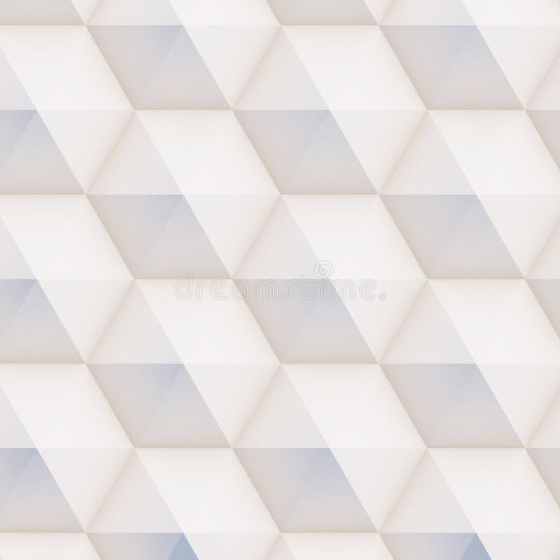 teste padrão 3D feito das formas geométricas brancas e bege ilustração do vetor