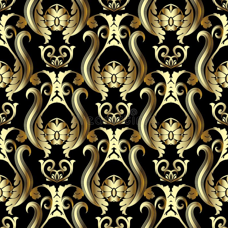 Teste padrão 3d sem emenda barroco do ouro Backgroun floral ornamentado do vetor ilustração stock