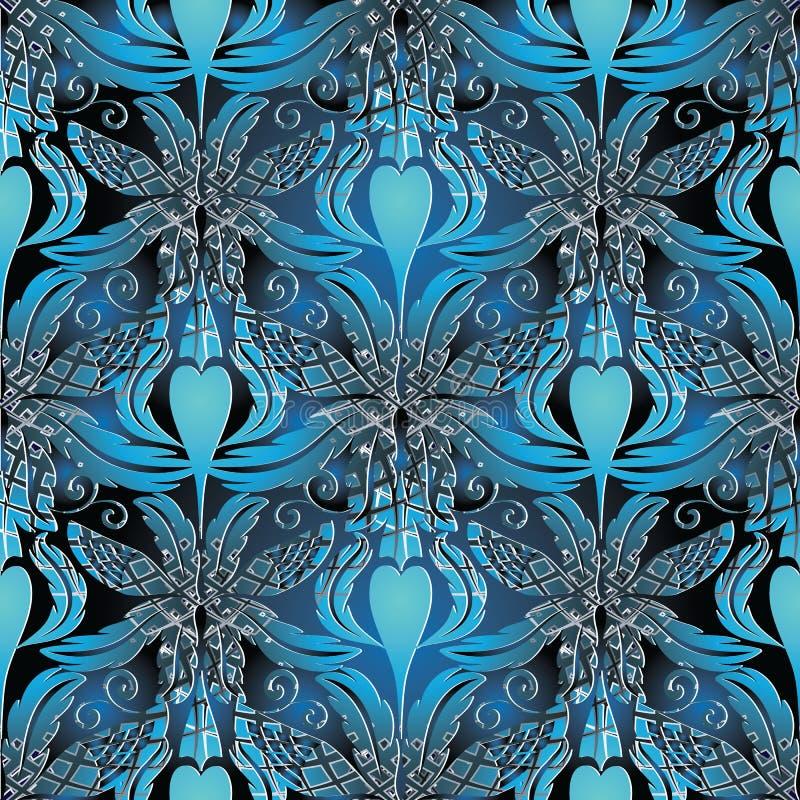 Teste padrão 3d sem emenda barroco Fundo do azul do vetor wallpaper ilustração do vetor