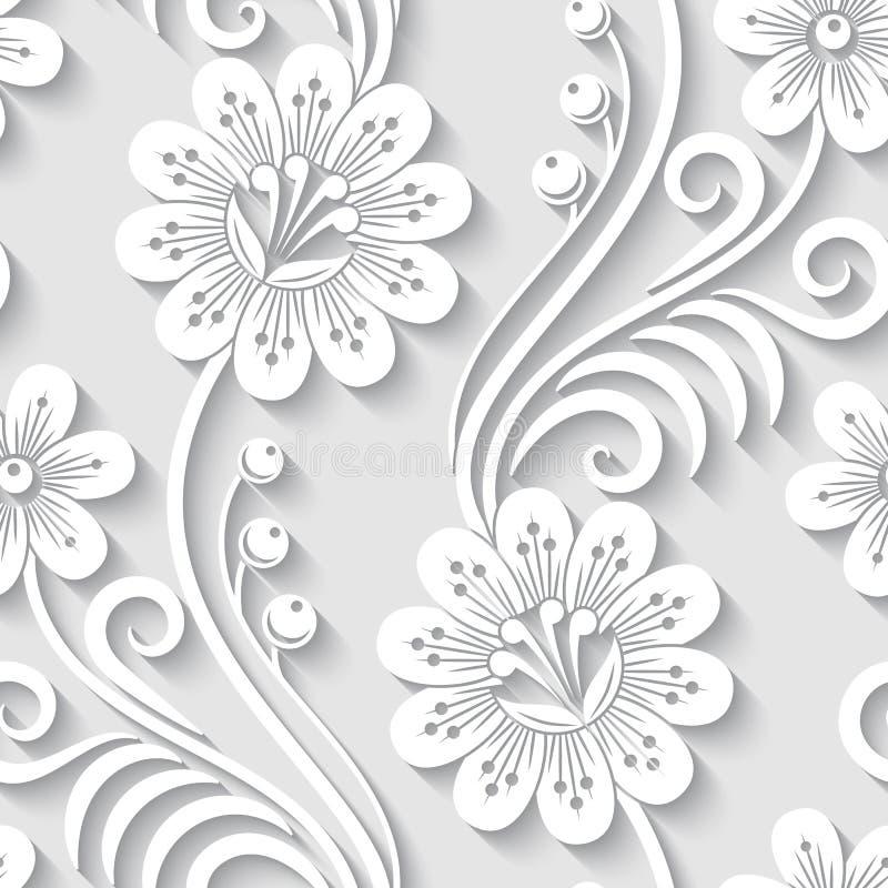 Teste padrão 3d sem emenda floral ilustração do vetor