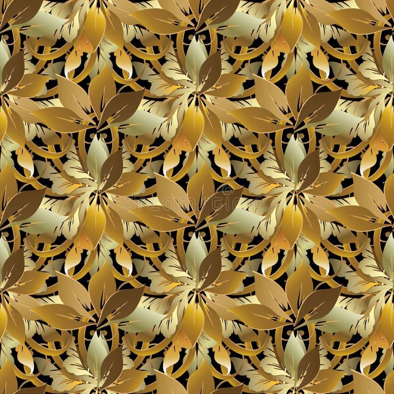 Teste padrão 3d sem emenda floral do estilo barroco frondoso do ouro Vint do vetor ilustração royalty free