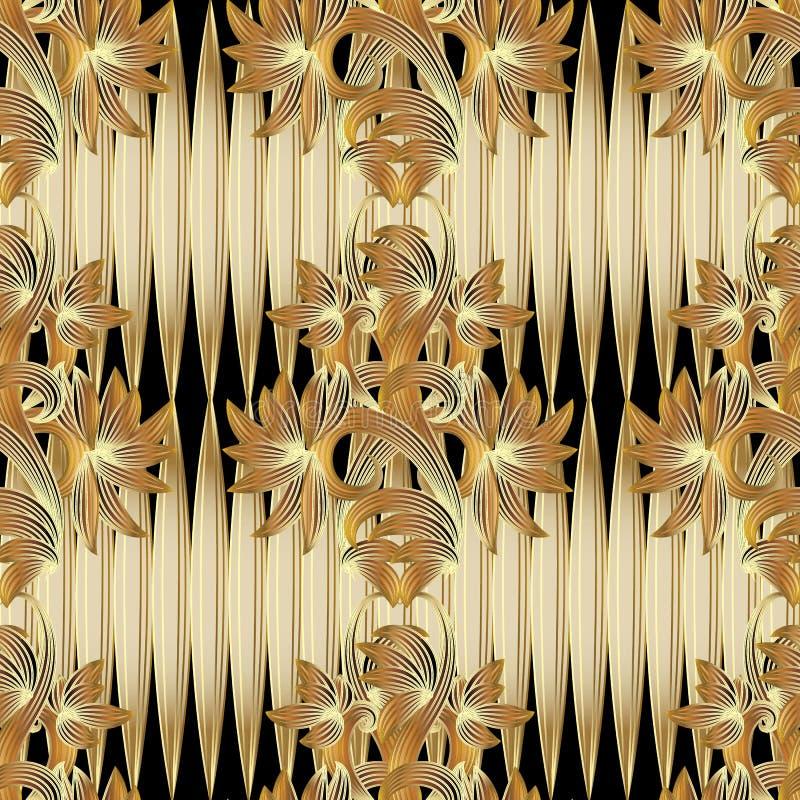 Teste padrão 3d sem emenda floral O fundo do preto do ouro do vetor com faz ilustração stock