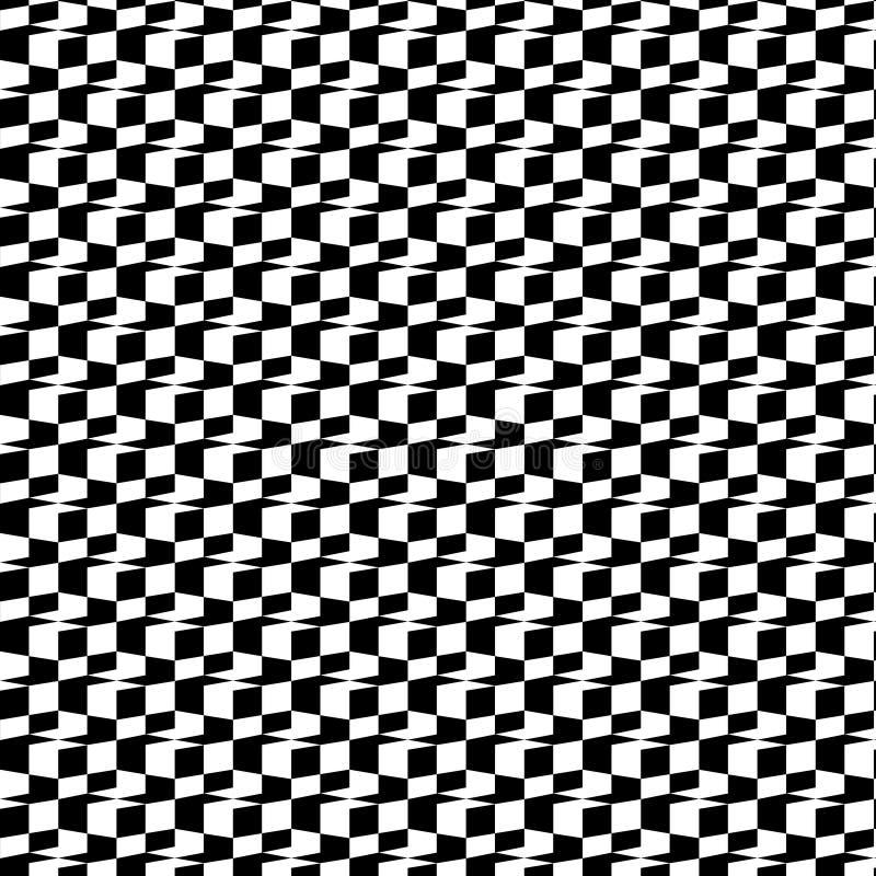 Teste padrão 3D sem emenda geométrico preto e branco abstrato Ilustração do vetor Ilusão ótica Efeito da xadrez ilustração stock