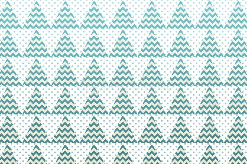 Teste padrão da árvore de Natal com triângulo verde, ziguezague e o ponto pequeno ilustração do vetor
