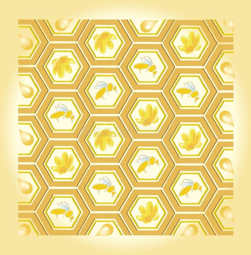 Teste padrão da abelha e do mel ilustração royalty free