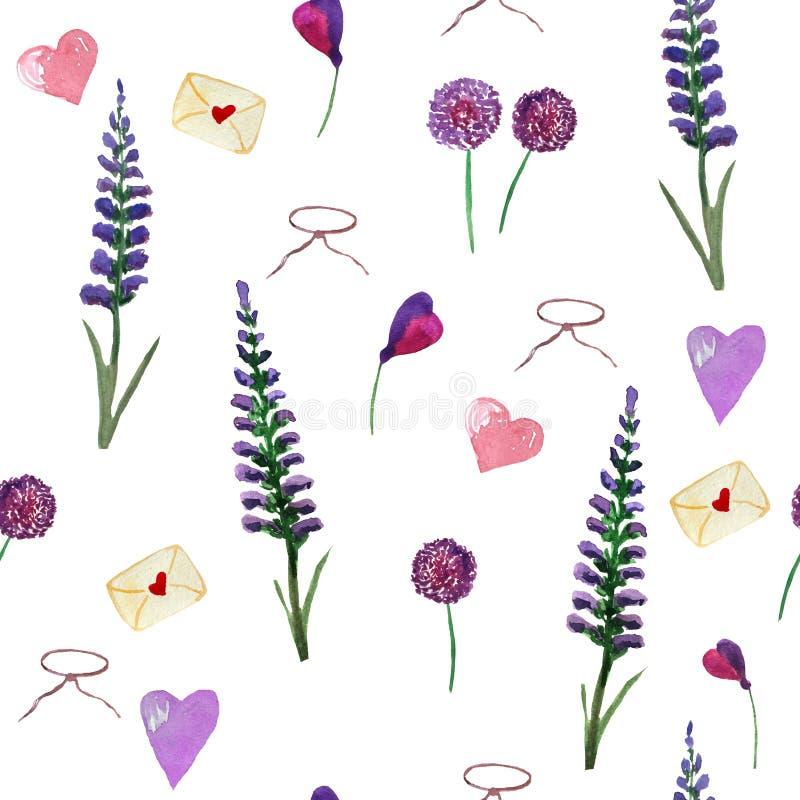 Teste padr?o da aquarela da alfazema, dos wildflowers e dos cora??es em um fundo branco ilustração do vetor