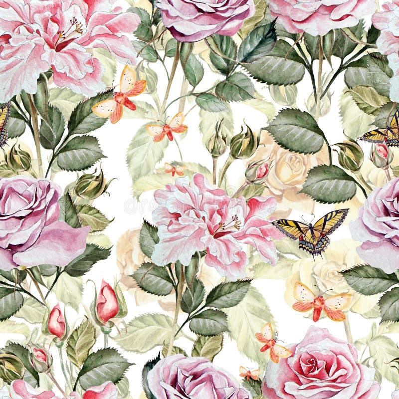 Teste padrão da aquarela com as flores da peônia e das rosas ilustração royalty free