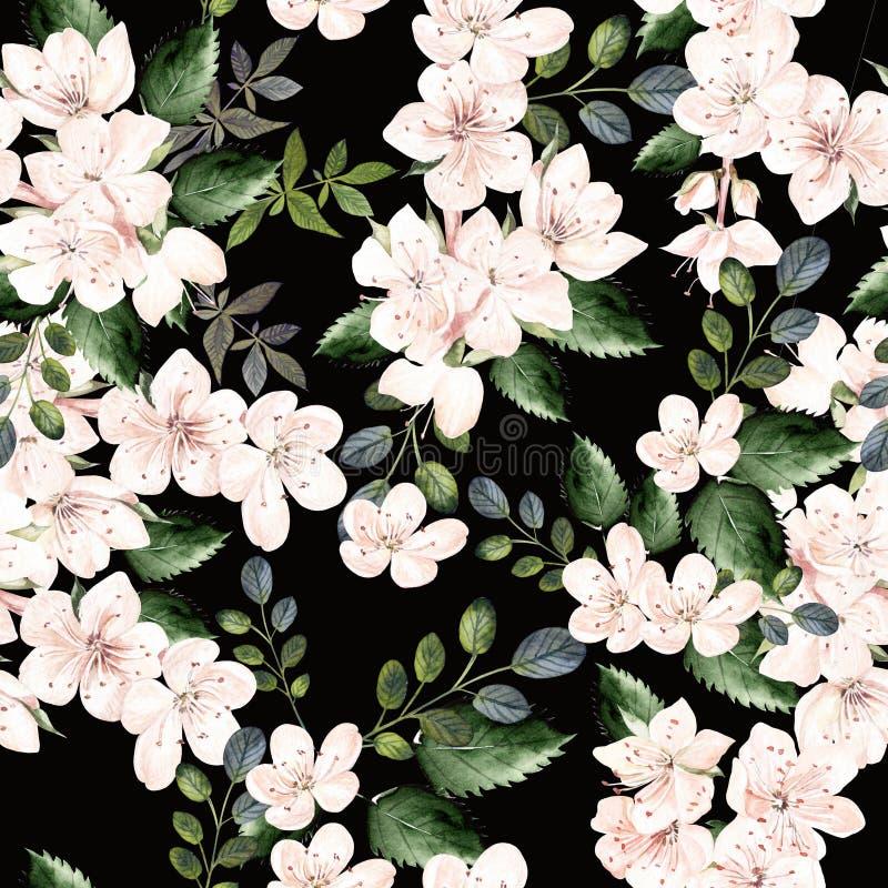 Teste padrão da aquarela com flores da mola e as folhas verdes ilustração do vetor