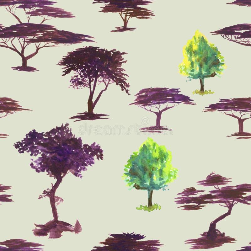 Teste padrão da aquarela com silhuetas da árvore Pintura da mão watercolor Teste padrão sem emenda para a tela, papel e outro ilustração do vetor