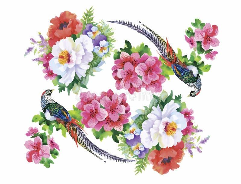 Teste padrão da aquarela das flores do jardim e dos pássaros do faisão ilustração do vetor