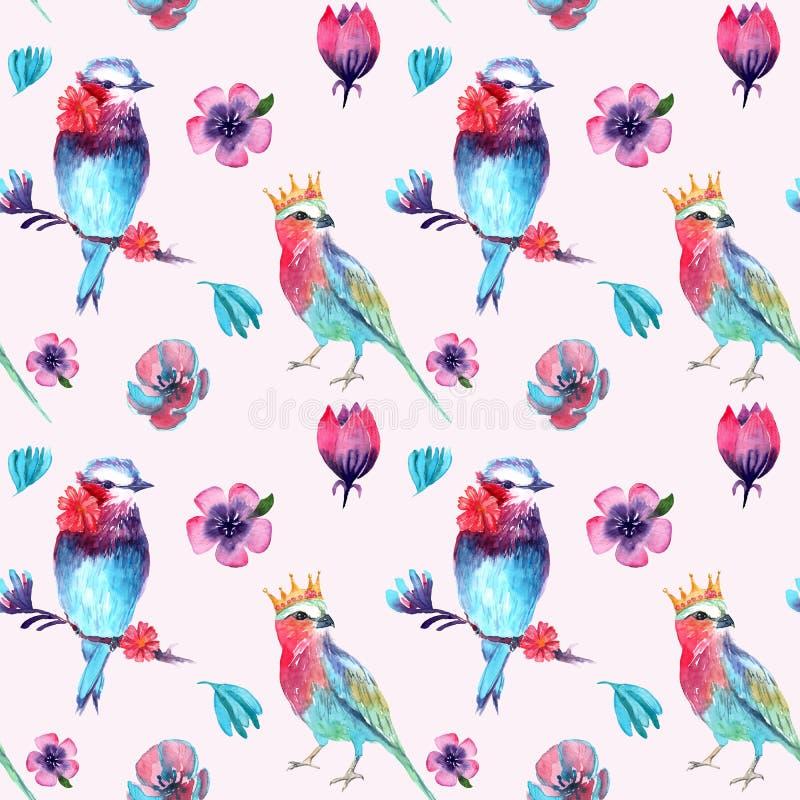 Teste padrão da aquarela de pássaros e de flores fabulosos ilustração stock