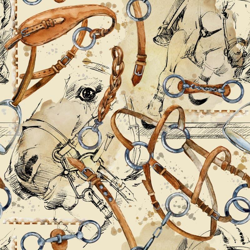 Teste padrão da aquarela do cavalo de chicote de fios fundo sem emenda equestre ilustração stock