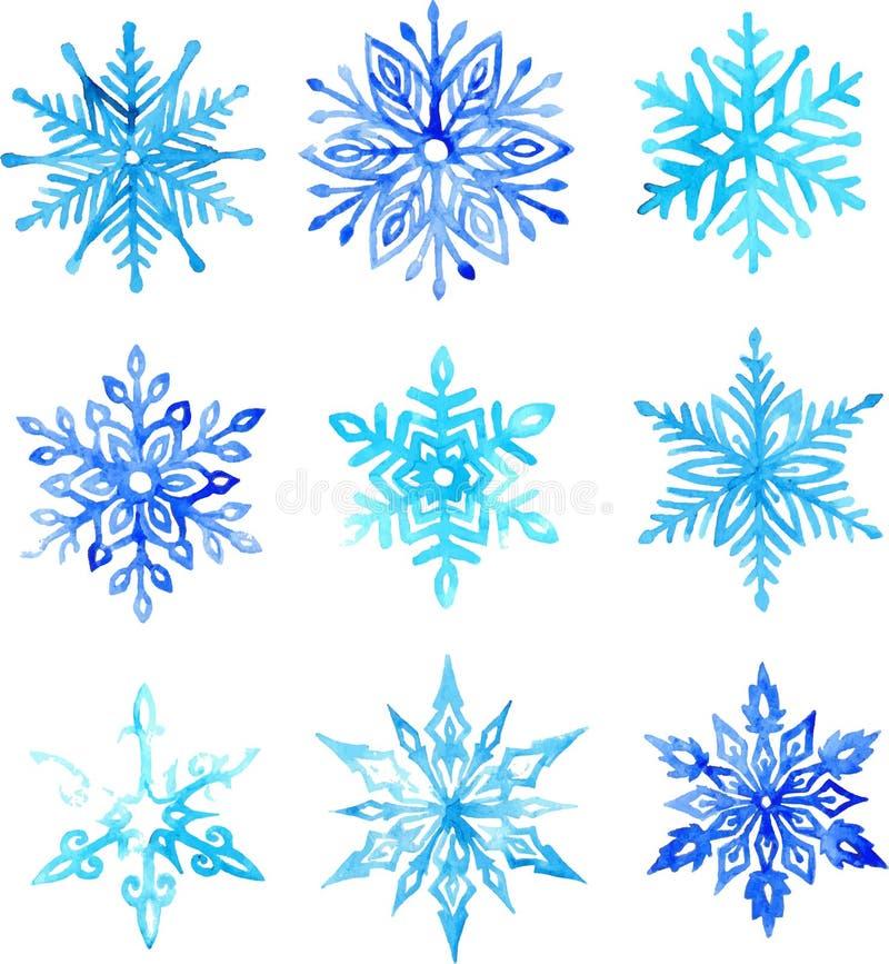 Teste padrão da aquarela do floco de neve imagens de stock royalty free