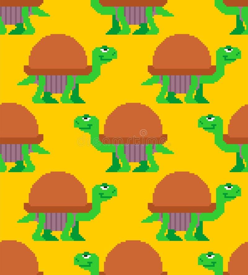 Teste padrão da arte do pixel da tartaruga sem emenda backgro do vetor do bocado da tartaruga 8 ilustração stock