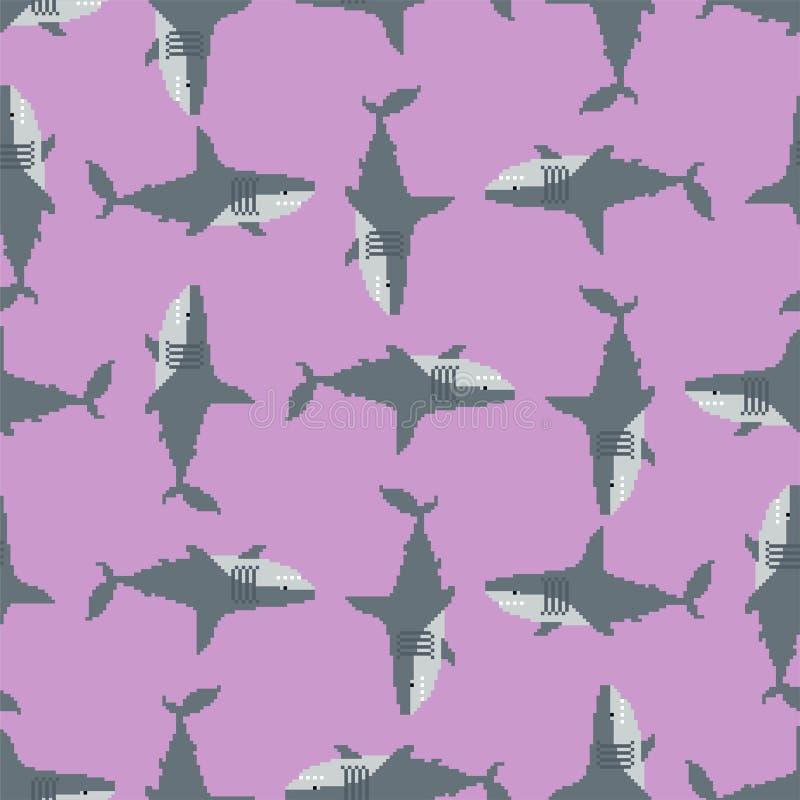 Teste padrão da arte do pixel do tubarão Fundo mordido do predador 8 marinhos textura velha do jogo dos gráficos ilustração do vetor