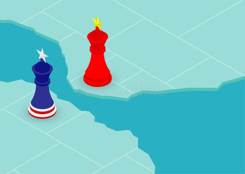 Teste padrão da bandeira do rei da xadrez de América e de China no mapa do mundo, de crise da guerra comercial e do imposto ilust ilustração do vetor