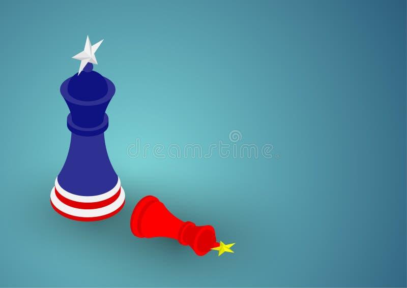 Teste padrão da bandeira do rei da xadrez ilustração do projeto de conceito da crise de América e de China, de guerra comercial e ilustração do vetor