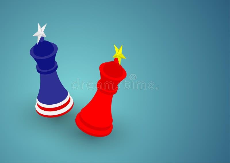 Teste padrão da bandeira do rei da xadrez ilustração do projeto de conceito da crise de América e de China, de guerra comercial e ilustração royalty free
