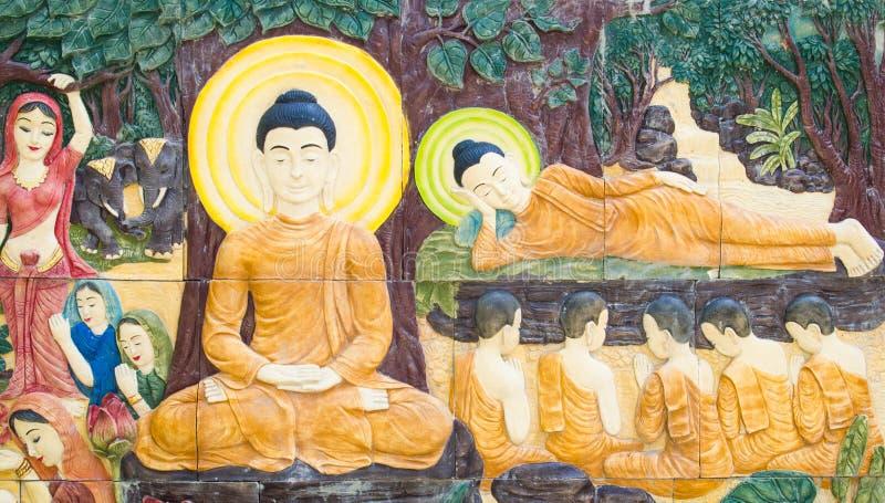 Teste padrão da Buda na parede no templo imagens de stock