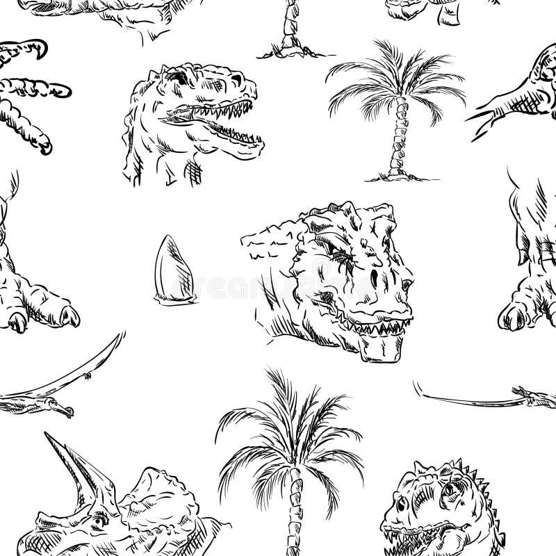 Teste padrão da cabeça de Dino ilustração stock