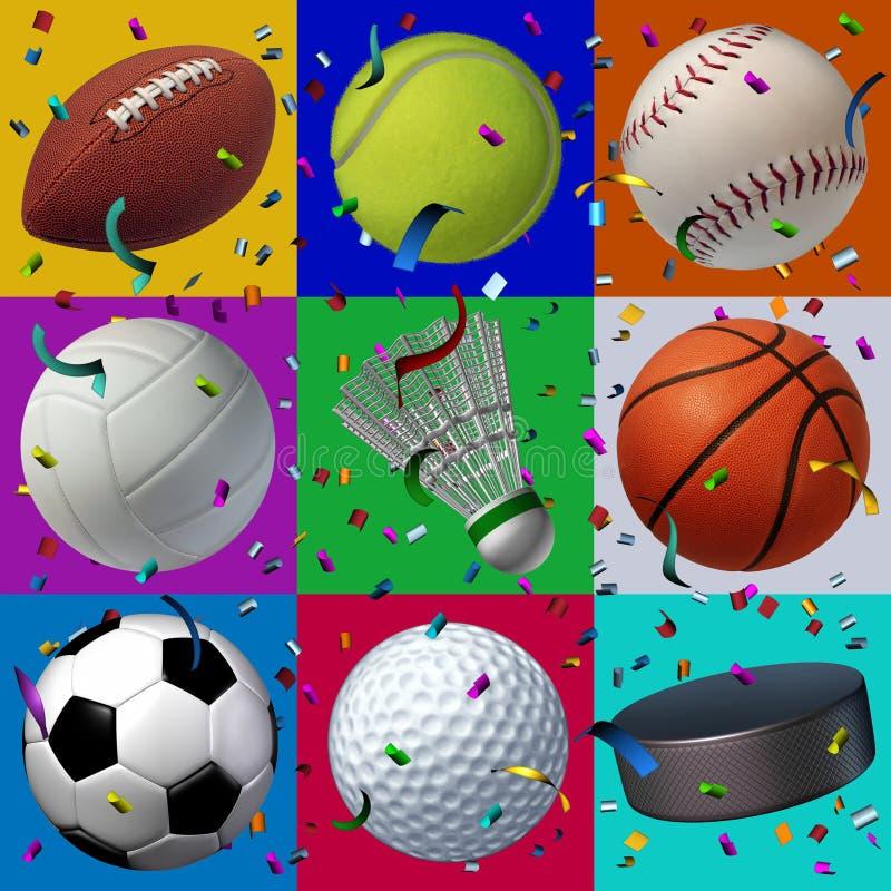 Teste padrão da celebração dos esportes ilustração stock