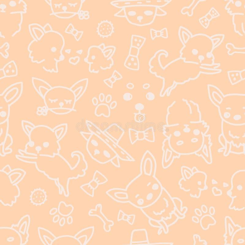 Teste padrão da chihuahua sem emenda do vetor, poses do cão, brinquedos e raça coloridos do cão Ilustrações à mão tiradas de cães ilustração stock