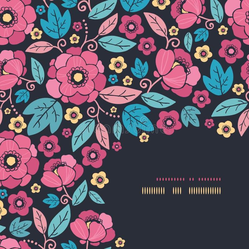 Teste padrão da decoração do canto da flor do quimono da noite ilustração royalty free
