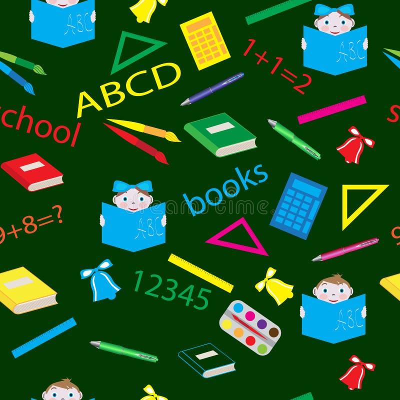 Teste padrão da escola sem emenda com artigos de papelaria ilustração do vetor