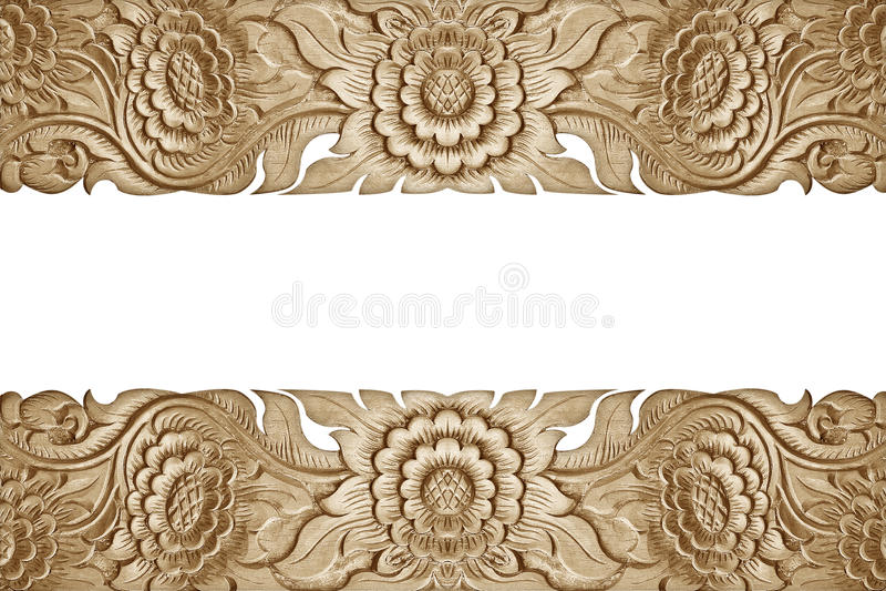 Teste padrão da flor cinzelado no fundo de madeira foto de stock