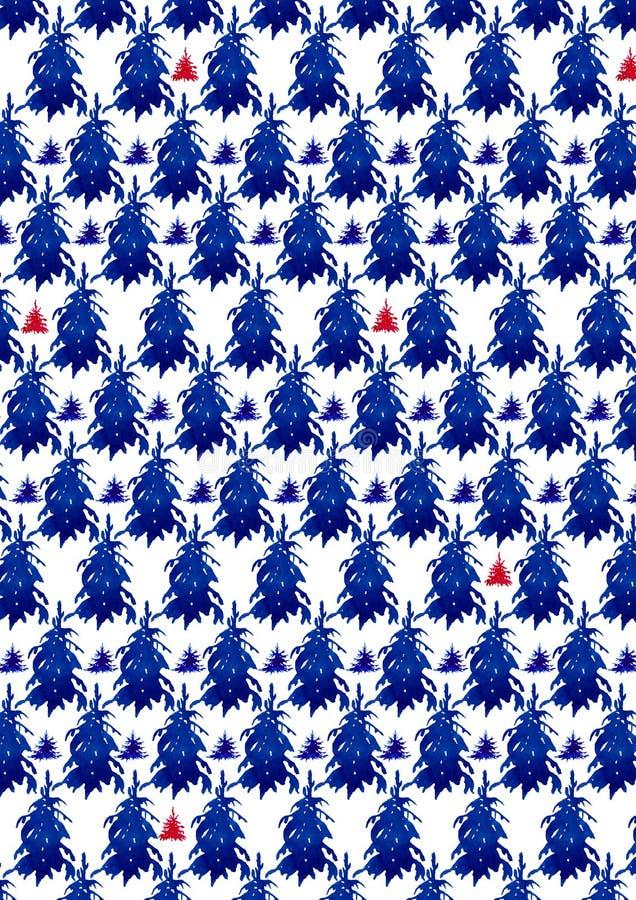 Teste padrão da floresta do Natal watercolour ilustração royalty free