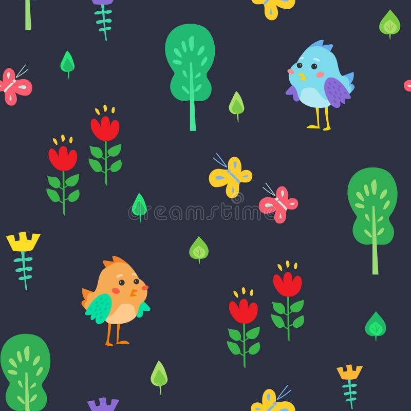 Teste padrão da floresta do ` s das crianças ilustração stock
