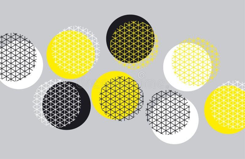Teste padrão da geometria do círculo com linha erva-benta ilustração do vetor