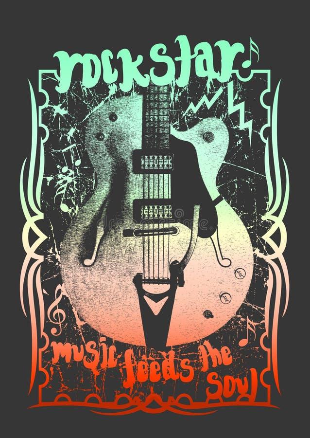 Teste padrão da guitarra, projeto do t-shirt ilustração stock