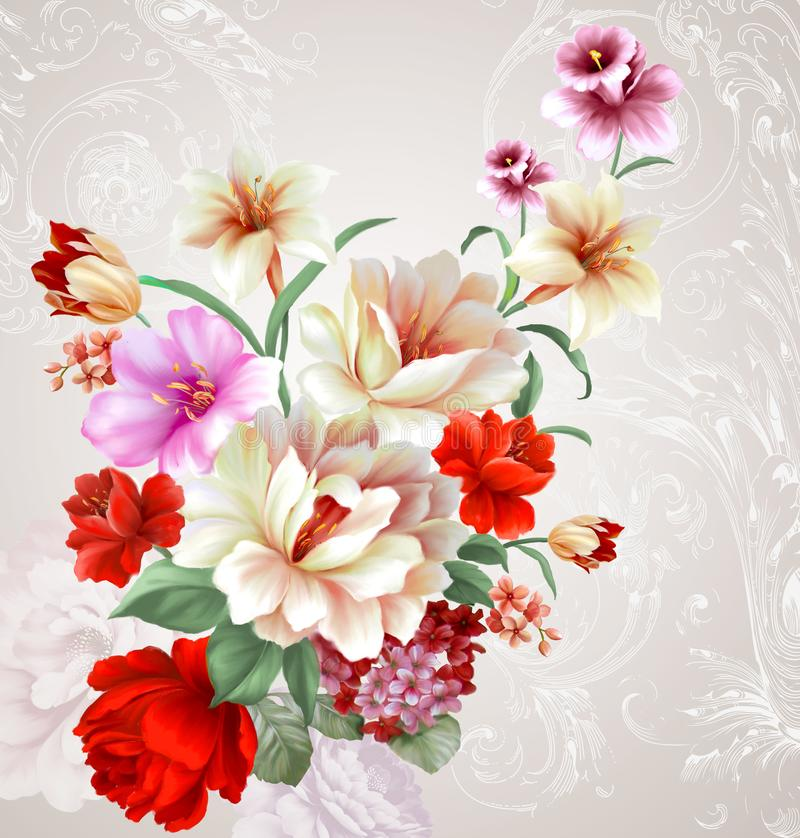 teste padrão da ilustração da flor no fundo simples ilustração stock