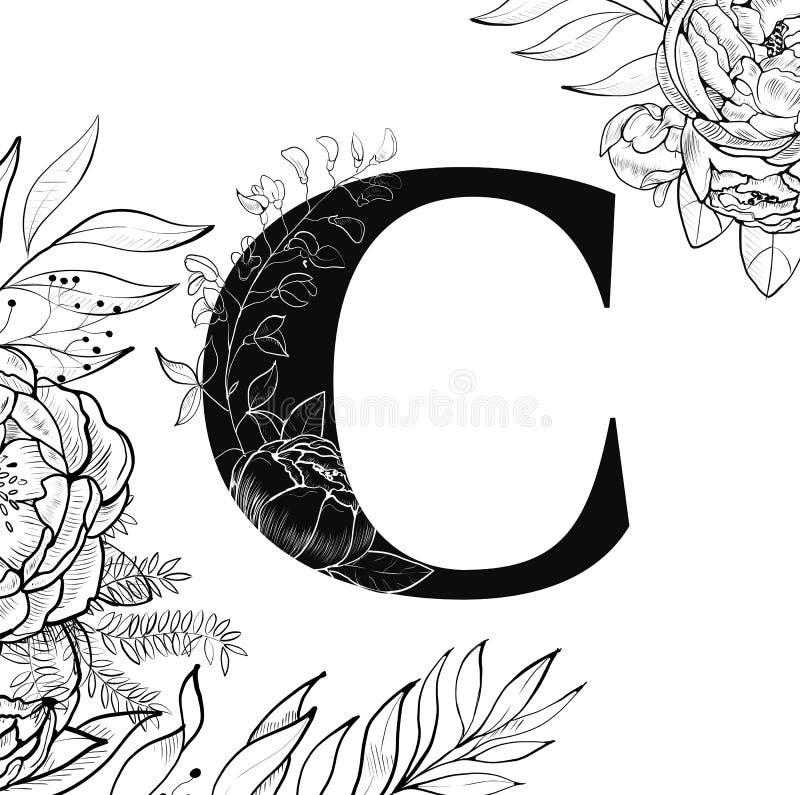 Teste padrão da letra C do alfabeto da flor ilustração royalty free