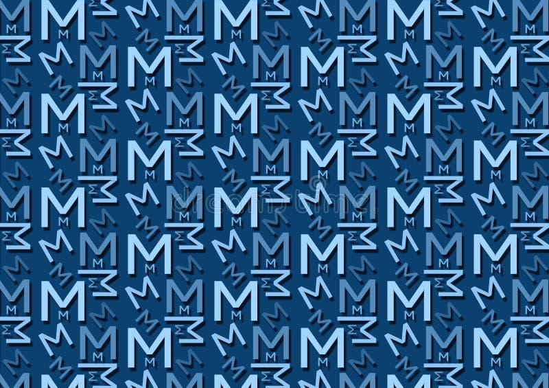 Teste padrão da letra M em máscaras azuis coloridas diferentes para o papel de parede ilustração do vetor