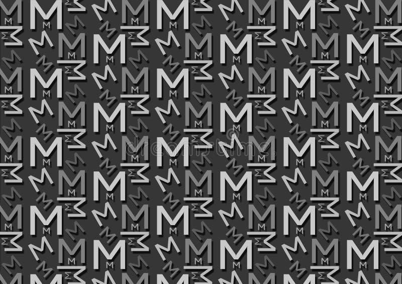 Teste padrão da letra M em máscaras cinzentas coloridas diferentes para o papel de parede ilustração stock