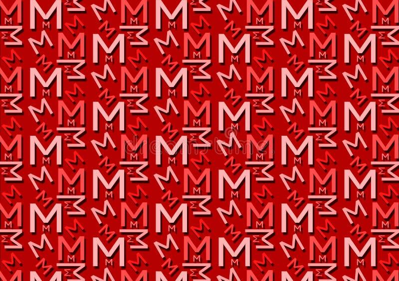 Teste padrão da letra M em máscaras vermelhas coloridas diferentes para o papel de parede ilustração do vetor