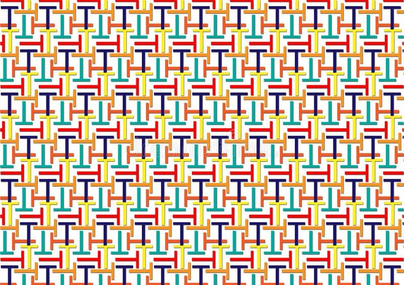 Teste padrão da letra T em máscaras coloridas diferentes ilustração do vetor