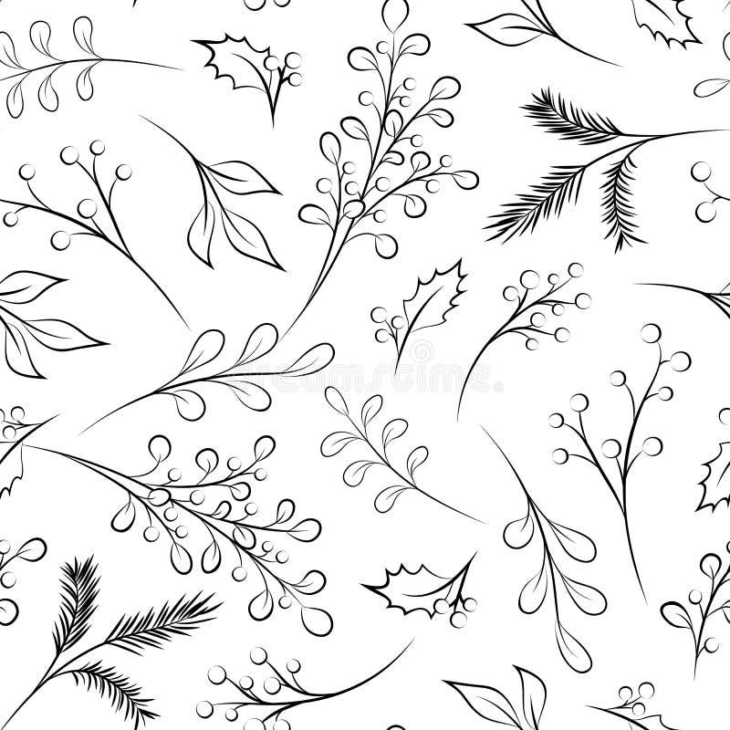 Teste padrão da licença da baga do ramo do Xmas do Natal do ano novo ilustração royalty free