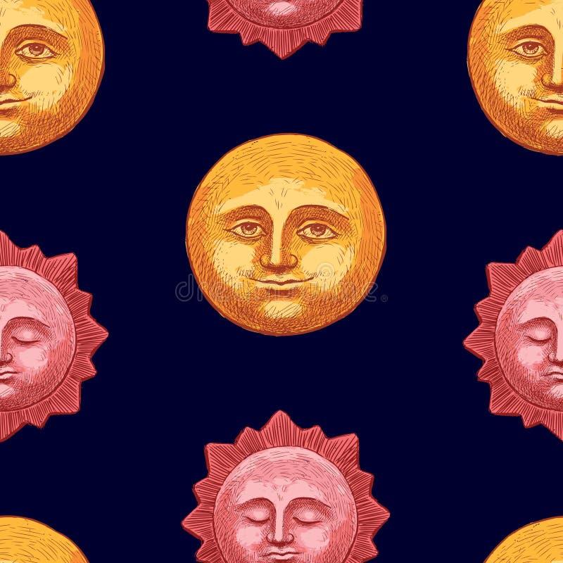 Teste padrão da lua e do sol na noite ilustração stock