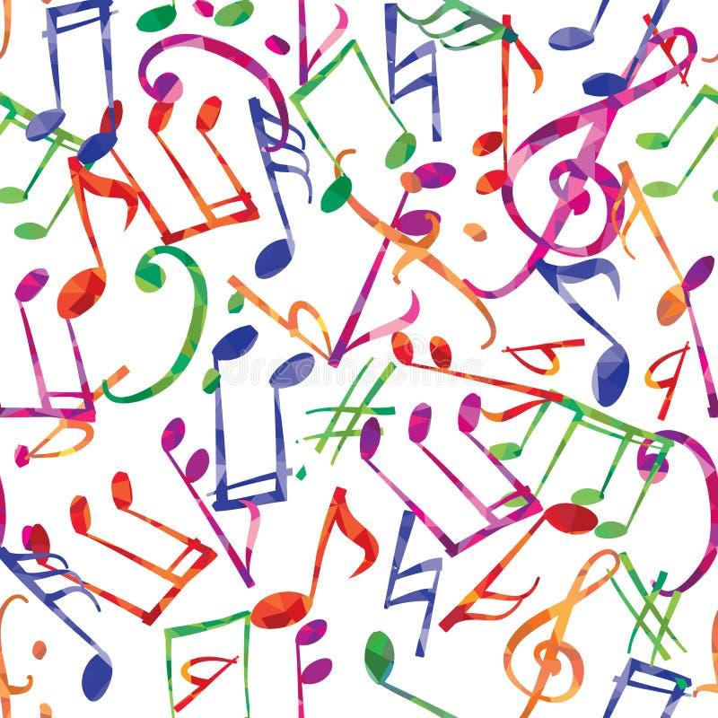 Teste padrão da música Notas da música e fundo multicolorido dos sinais ilustração stock