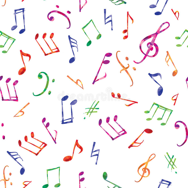 Teste padrão da música Notas da música e fundo sem emenda dos sinais ilustração stock
