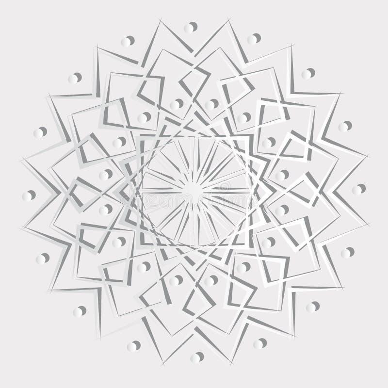 Teste padrão da mandala do papel do vetor com efeito 3d ilustração do vetor