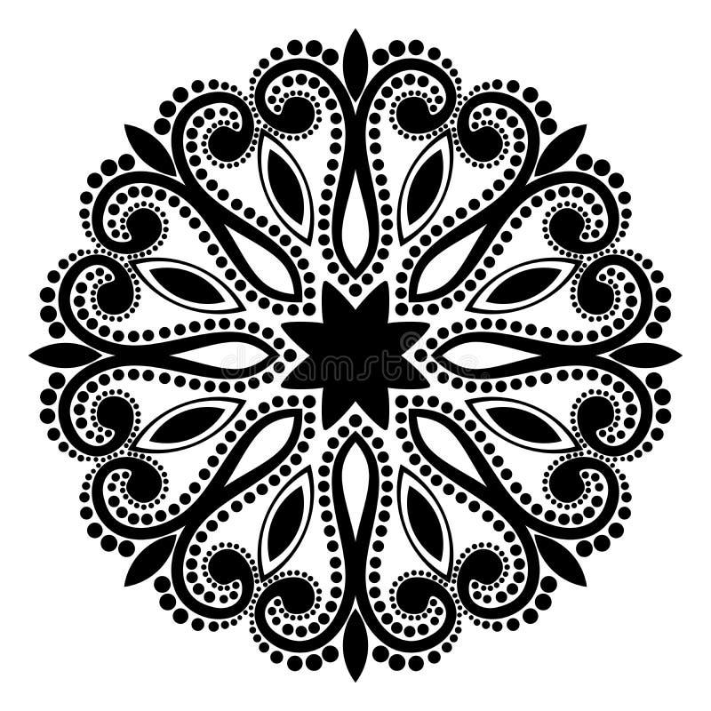 Teste padrão da mandala preto e branco ilustração do vetor