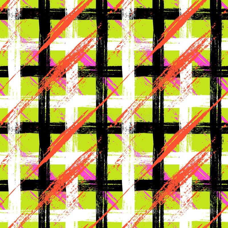 Teste padrão da manta com pinceladas e listras ilustração stock